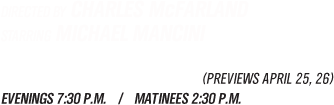 April 27 - May 7, 2011. Evenings 7:30 P.M. / Matinees 2:30 P.M.
